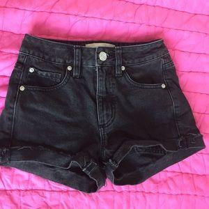Black jeans shorts